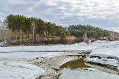 Spring melting of ice on the river. Siberia, Russia Royalty Free Stock Photo