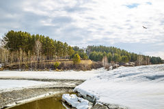 Spring melting of ice on the river. Siberia, Russia Royalty Free Stock Photos