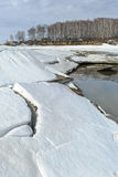 Spring melting of ice on the river. Siberia, Russia Royalty Free Stock Images