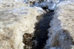 In the spring of melting snow runs murmuring stream royalty free stock photo