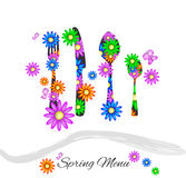 Spring Menu. With cutlery and colorful daisies Stock Image