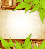 Spring message. Grunge background with wooden frame and green leaves Royalty Free Stock Image