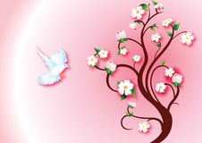Spring messenger. Illustration of a dove flying to a flourished tree vector illustration