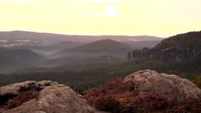 Spring misty daybreak in attractive nature rock empire park Saxony Switzerland. stock video footage