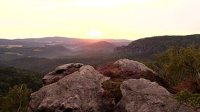 Spring misty daybreak in attractive nature rock empire park Saxony Switzerland. stock footage