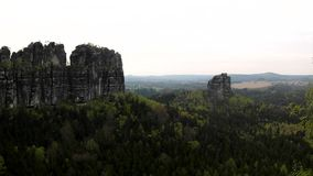 Spring misty evening in atractive nature rock empire park. Saxony Switzerland stock video