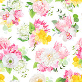 Spring mixed bouquets of pink hydrangea, protea, white poppy, dahlia, orchid, daffodil and bright green plants seamless vector des Royalty Free Stock Photos