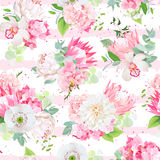 Spring mixed bouquets striped seamless vector design pattern Stock Photo