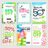 Spring mobile sale banners collection. Vector illustrations of online shopping website and mobile website banners, posters, newsletter designs, ads, coupons Stock Photo