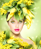 Spring model girl with flowers hairstyle. Beauty spring model girl with flowers hairstyle Royalty Free Stock Photography
