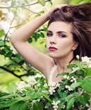Spring Model Young Woman with Blowing Hairstyle on Blossoms Stock Image