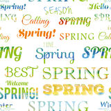 Spring modern typographic seamless pattern. Royalty Free Stock Photo