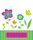 Spring mood. Background with colorful flowers in the style of applique fabric Royalty Free Stock Photo