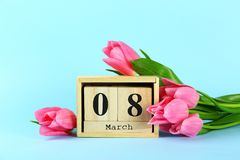 Spring mood concept. Pink flowers arrangement with a lot of copy space for text stock photography
