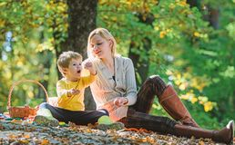 Spring mood. Happy family day. Sunny weather. Healthy food. Mother love her small child. Family picnic. Mothers day. Happy son with mother relax in autumn royalty free stock image