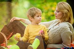 Spring mood. Happy family day. Sunny weather. Healthy food. Family picnic. Mothers day. Happy son with mother relax in. Autumn forest. Mother love her small boy royalty free stock image