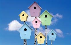 Spring mood. Multi Colored birdhouses Stock Photo
