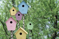 Spring mood. Multi Colored birdhouses Stock Photography