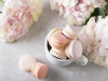 Free Spring Mood Still Life With Macaroons In Cup And Flowers Royalty Free Stock Images - 115557449
