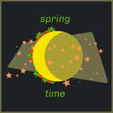Spring moon time art with flowers around. Royalty Free Stock Images