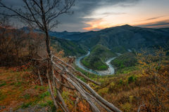 Spring morning along the Arda river, Rhodope Mountains, Bulgaria Royalty Free Stock Photography