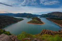 Spring morning along the Arda river, Rhodope Mountains, Bulgaria Stock Photo