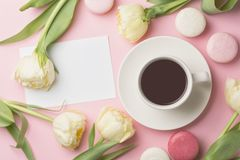 Spring morning concept. Flat-lay of cup of coffee with white flowers and macarons over light pink background, top view with space stock photos