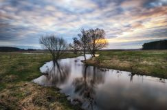 Morning. dawn near a picturesque river Stock Photo