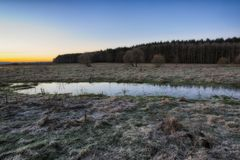 Morning. dawn near a picturesque river Royalty Free Stock Images