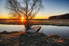 Morning. dawn near a picturesque river Royalty Free Stock Image