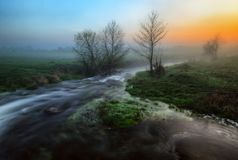 Morning. foggy dawn near a picturesque river royalty free stock photo