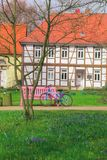 Spring morning in German villages. Wolfsburg royalty free stock photography