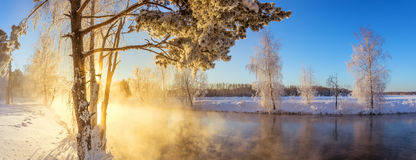 Spring morning landscape with fog and a forest, river, Russia, Ural. February Stock Photo