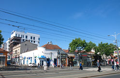 Spring morning in the old city quarter, Belgrade, Serbia royalty free stock image