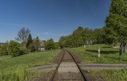 Spring morning with railway track Stock Images