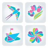 Spring mosaic icons. Set of 4 vector multicolor spring icons royalty free illustration