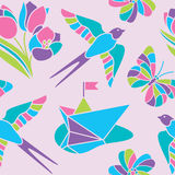 Spring mosaic seamless pattern. Seamless spring vector pattern in pastel colors royalty free illustration