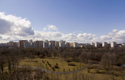 Spring Moscow. Photo of one of the districts of Moscow in the early spring, made from a height of 9-storey building Stock Image