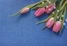 Pink tulips with pearls on blue glitter background with copy space stock photography