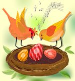 Spring motif with two singing birds by nest with eggs Royalty Free Stock Photo
