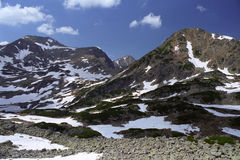 Spring at mountain. Bucura area and peaks on springtime Royalty Free Stock Photography
