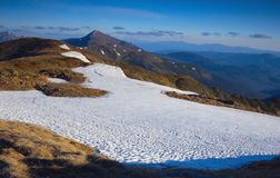 Spring Mountain. Snow arrow points to the mountain Hoverla. This is the highest mountain of the Ukrainian Carpathians, with an altitude of 2061 meters. She royalty free stock image