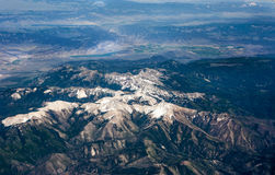 The spring mountain aerial view Royalty Free Stock Photography