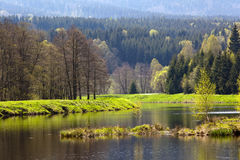 Spring mountain lake. Reflection of green spring mountain on the lake. South Poland Royalty Free Stock Image