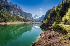 Spring at mountain lake in Gosau, Alps, Austria. Europe Royalty Free Stock Photo