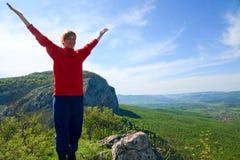 Spring Mountain landscape . Spring Crimea Mountain landscape and tourist on top(Ukraine Stock Image
