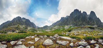 Spring in mountain - panorama with peaks, Slovakia Tatras Stock Images