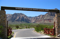 Spring Mountain Ranch Nevada. Picturesque entrance to Spring Mountain Ranch is located within the Red Rock Canyon National Conservation Area, beneath the Royalty Free Stock Images