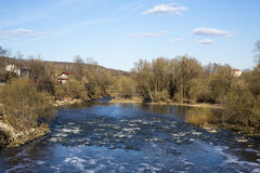 Spring mountain river with creek royalty free stock photo