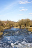 Spring mountain river with creek Royalty Free Stock Image